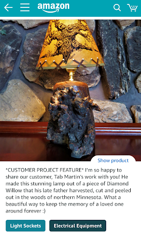 'Show product' link in blue underneath the product photo