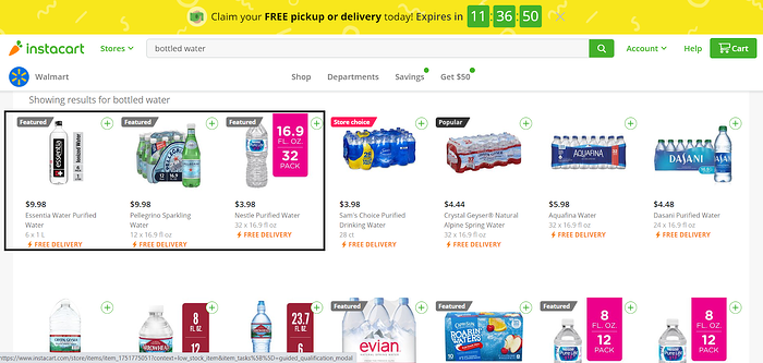 'bottled water' keyword search on Instacart