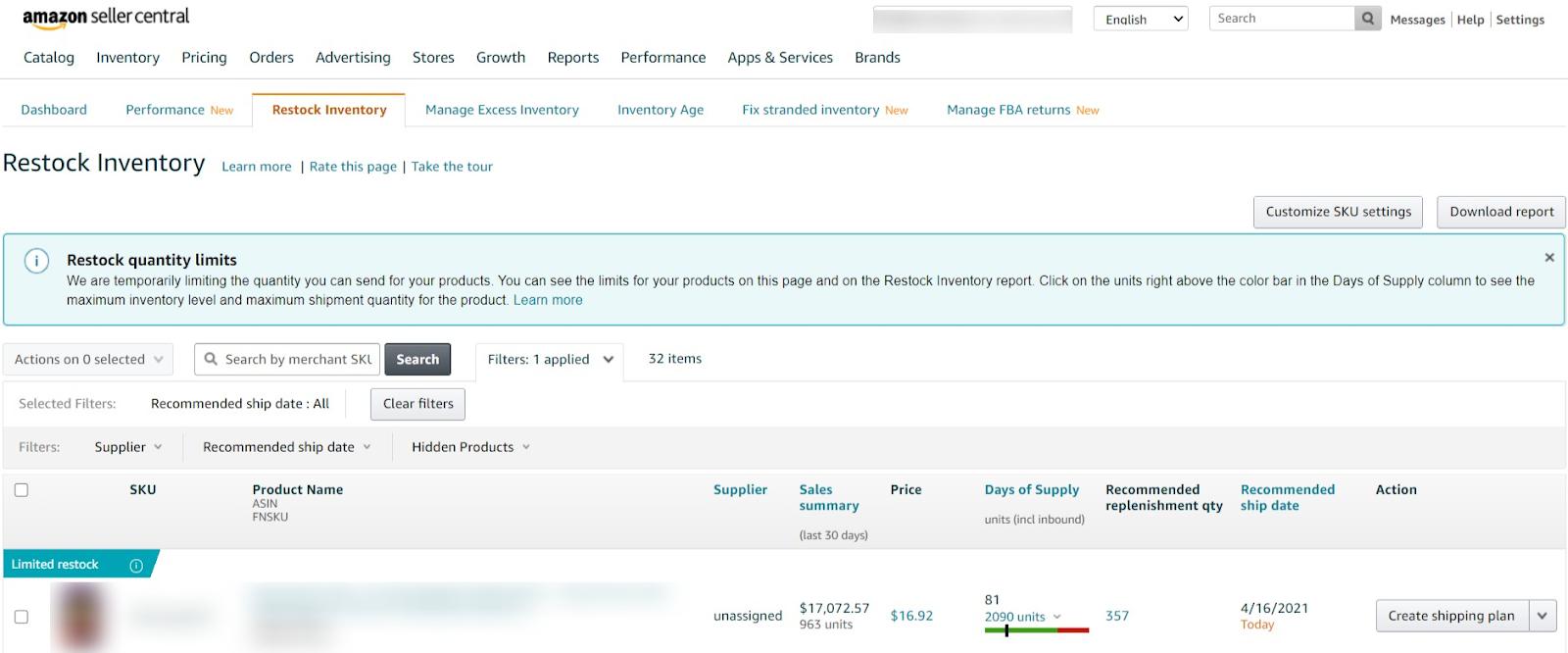 Amazon's restock inventory dashboard