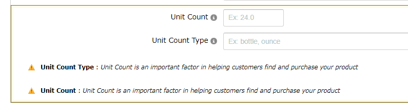 Edit product, yellow triangle and missing invalid information