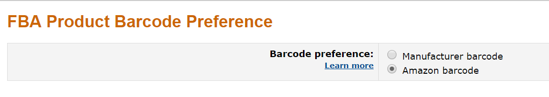 FBA Product Barcode Preference - Amazon