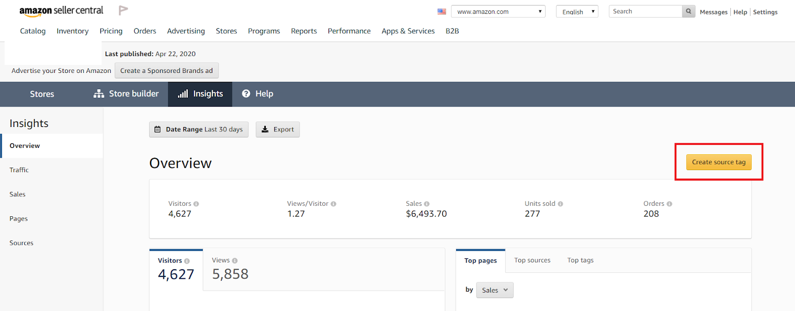 'Create source tag' button on the Insights tab within the Storefront section of your Seller Central dashboard.