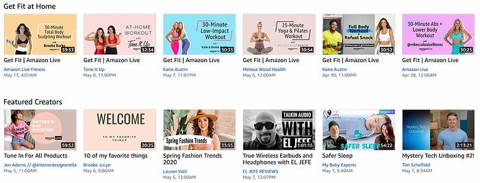 Livestream thumbnails appearing on the Amazon Live homepage (1)