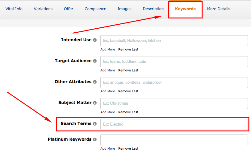 """Once you're in the backend, select the 'Keywords""""'tab, and you will see six fields. Enter your list in the 'Search Terms' field then click 'Save & Finish'.-1"""