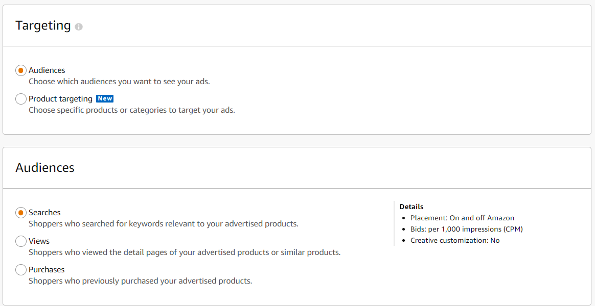 Screenshot of the various Targeting options for Sponsored Display ads-1