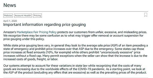 Important information regarding price gouging