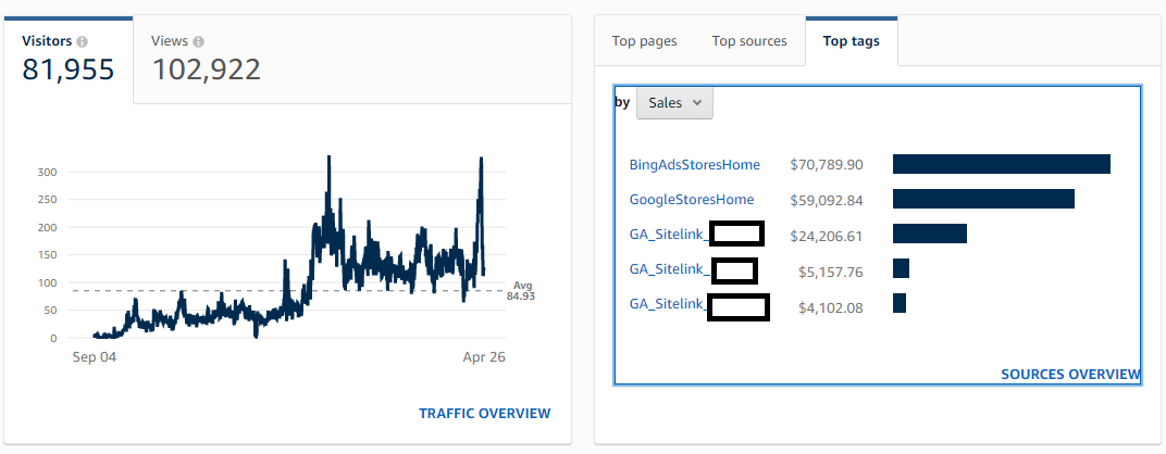 Amazon Storefront screenshot illustrating the traffic boost delivered by Google ads.