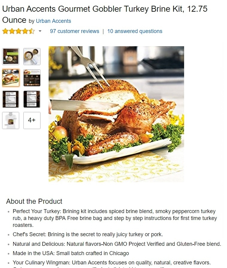 Above: the perfect lifestyle image to accompany a turkey brining kit on Amazon. This shows the customer how the product will help them to create the perfect turkey dinner and 'wow' their family at Thanksgiving or Christmas.