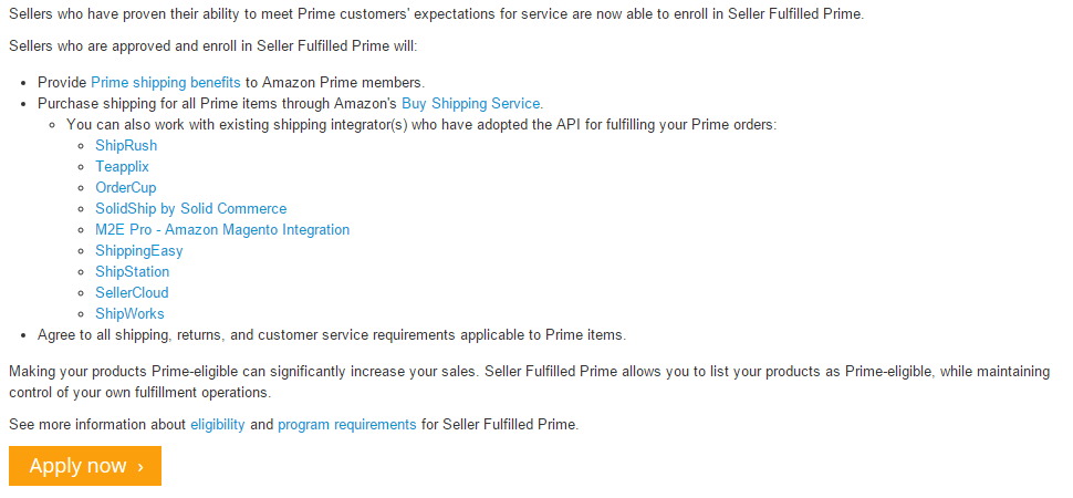 A list of existing shipping integrations which work with Seller Fulfilled Prime.
