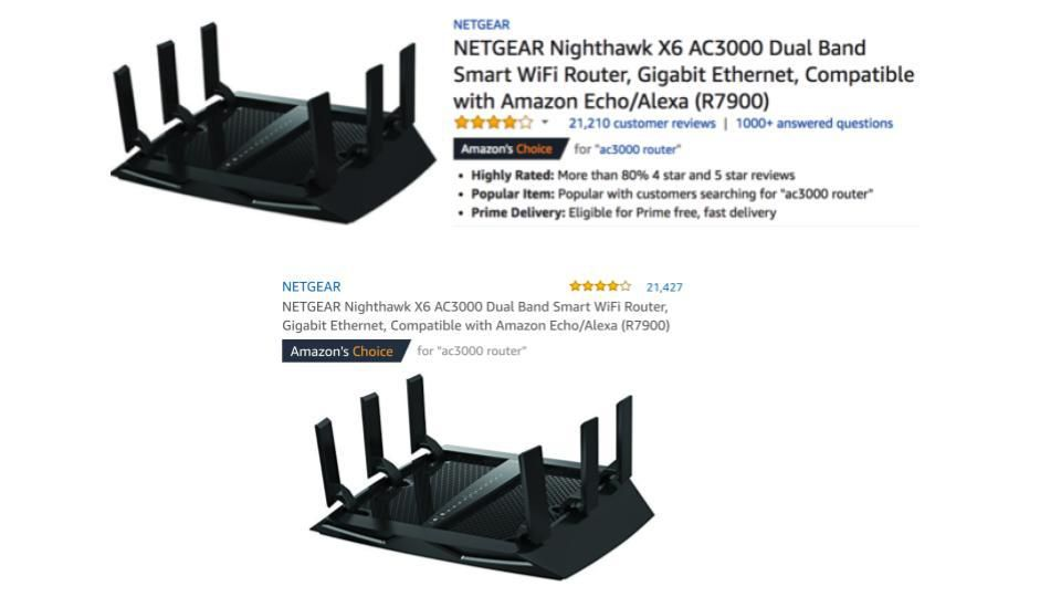 Netgear product detail page on Amazon's mobile app. The above image shows the criteria for the Amazon's Choice badge on April 15. The below image shows the same page two weeks later without the criteria for the Amazon's Choice badge.