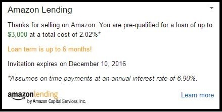 Example of an Amazon Lending offer.