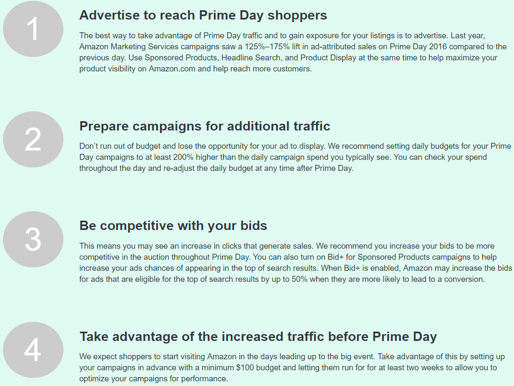 Tips that Amazon sent to advertisers before Prime Day this year