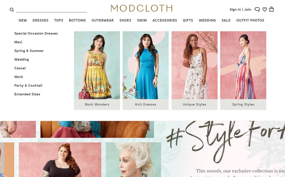 Modcloth Homepage