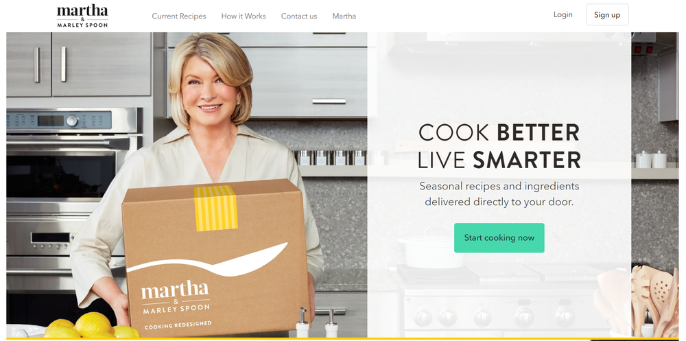 Amazon announced plans to partner with Martha Stewart (through Marley Spoon) and offer her meal kits to AmazonFresh.
