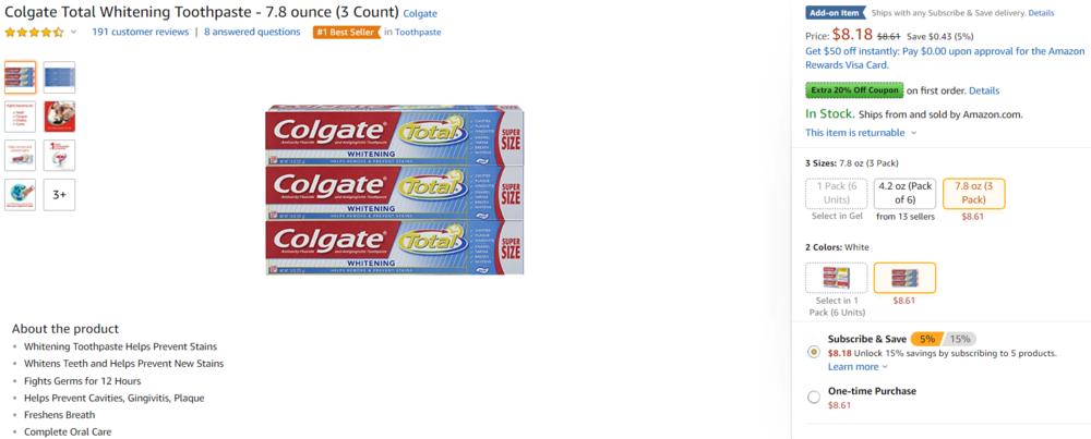 Colgate Toothpaste parent ASIN with multiple child variations. Source: Amazon.com