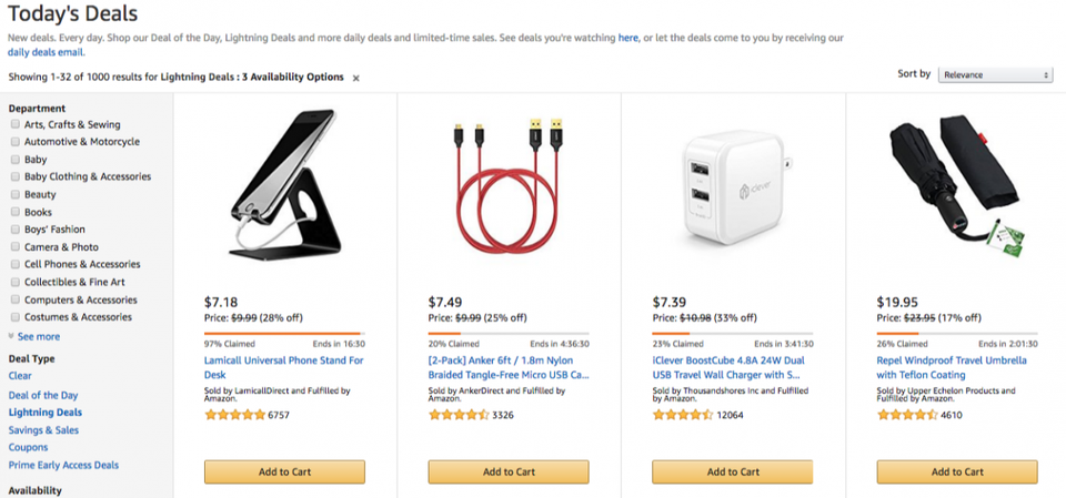 Lightning Deals displayed on   Amazon  .  com   are a promotional discount tool used by brands to drive sales of their product.