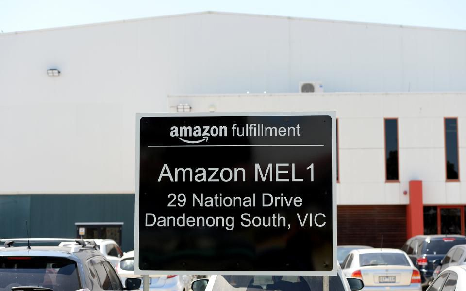 Above: a   sign outside US retailer Amazon's 24,000-square-metre centre in Melbourne on November 23, 2017. Image Source: MAL FAIRCLOUGH/AFP/Getty Images
